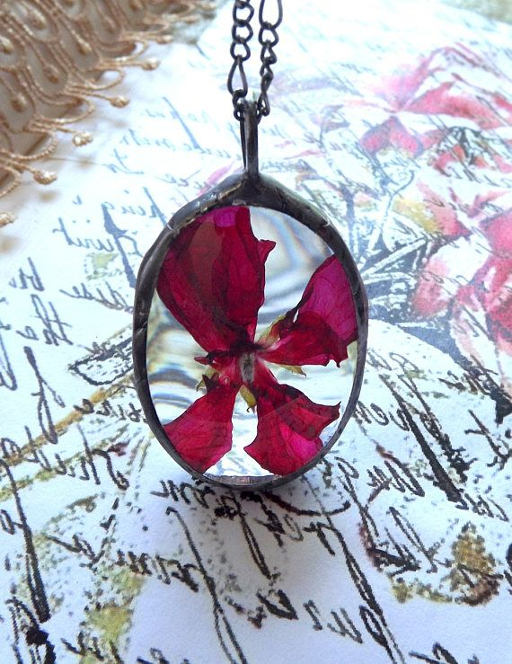 Pendant with red flower. Dried flower necklace. Real flower