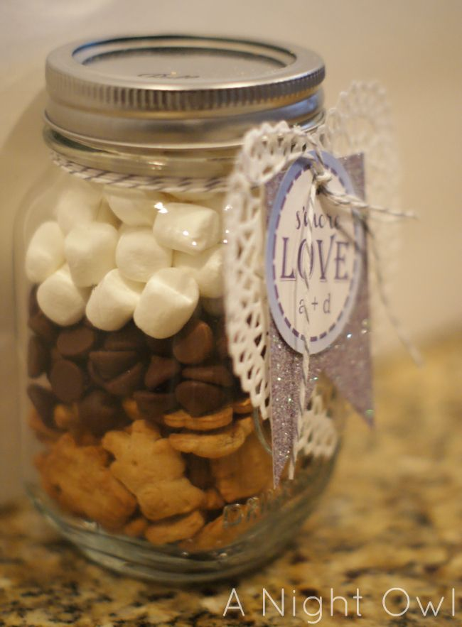 S'mores in a Jar. Teddy Grahms, chocolate chips, and small marshmallows