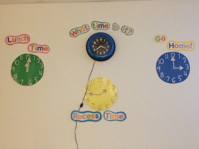 Saw this somewhere and loved it! Clocks label the important time of day for the kids to help them match while they are learning to tell analog time.  We would also do specials time but all of them are at a different time which was slightly too confusing