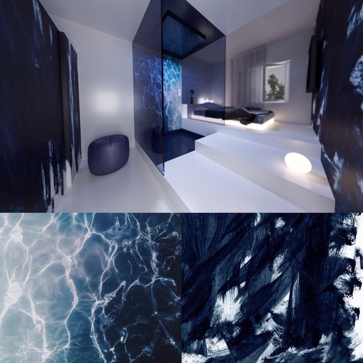 Hotel room design Blue Paint and water inspired