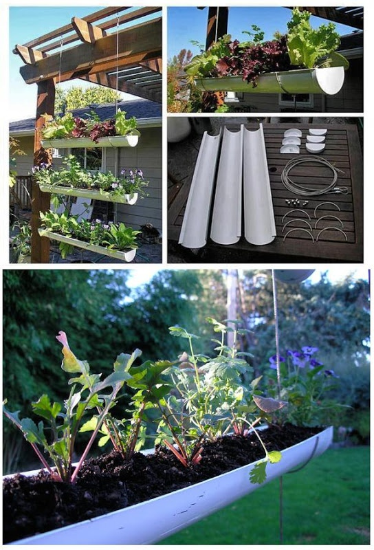 Make A Hanging Gutter Garden. I love this for on the deck... just steps away from the kitchen!