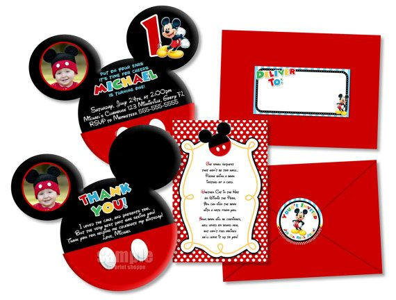 148 best Mickey Mouse Polka Dot Birthday Invitations Party