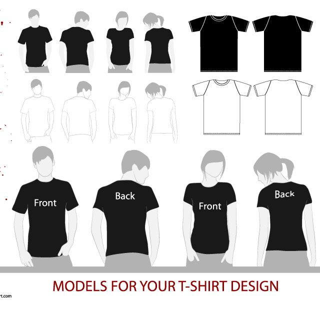 Free Download »   http://www.t-shirt-template.com/vector-tshirt-model-template/   Vector T-shirt model template by APEstar.deviantart.com. This free vector files contain 4 T-Shirt Models and 2 T-Shirt Shapes, front and back, for girls and boys.   T-shirt Vector & PSD templates you can use them to preview how your illustration or apparel design would look garment after you printing the garment. www.T-Shirt-template.com has the collection of best free templates for downl