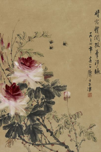 Fang Zhaoling (1914–2006), Peonies, 1957, Ink and colour on paper, 54.7 x 37 cm, Private Collection © Ashmolean Museum, University of Oxford