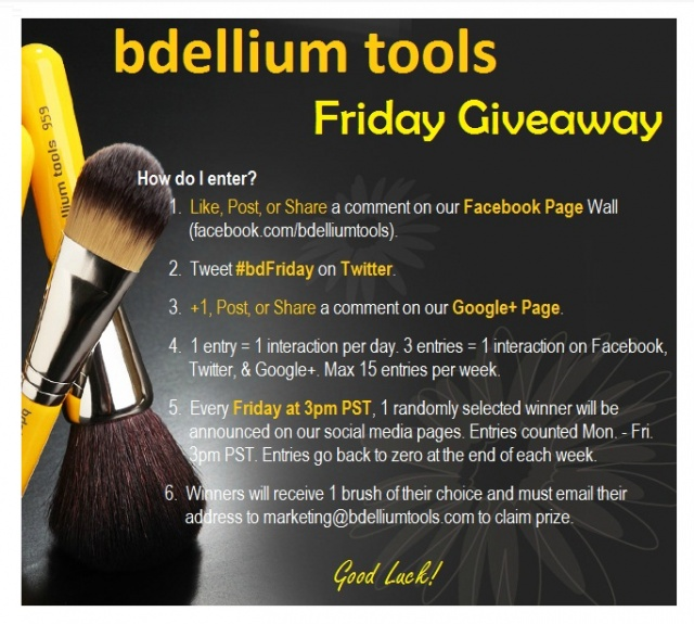 See how you can win a free Bdellium Tools makeup brush every Friday!