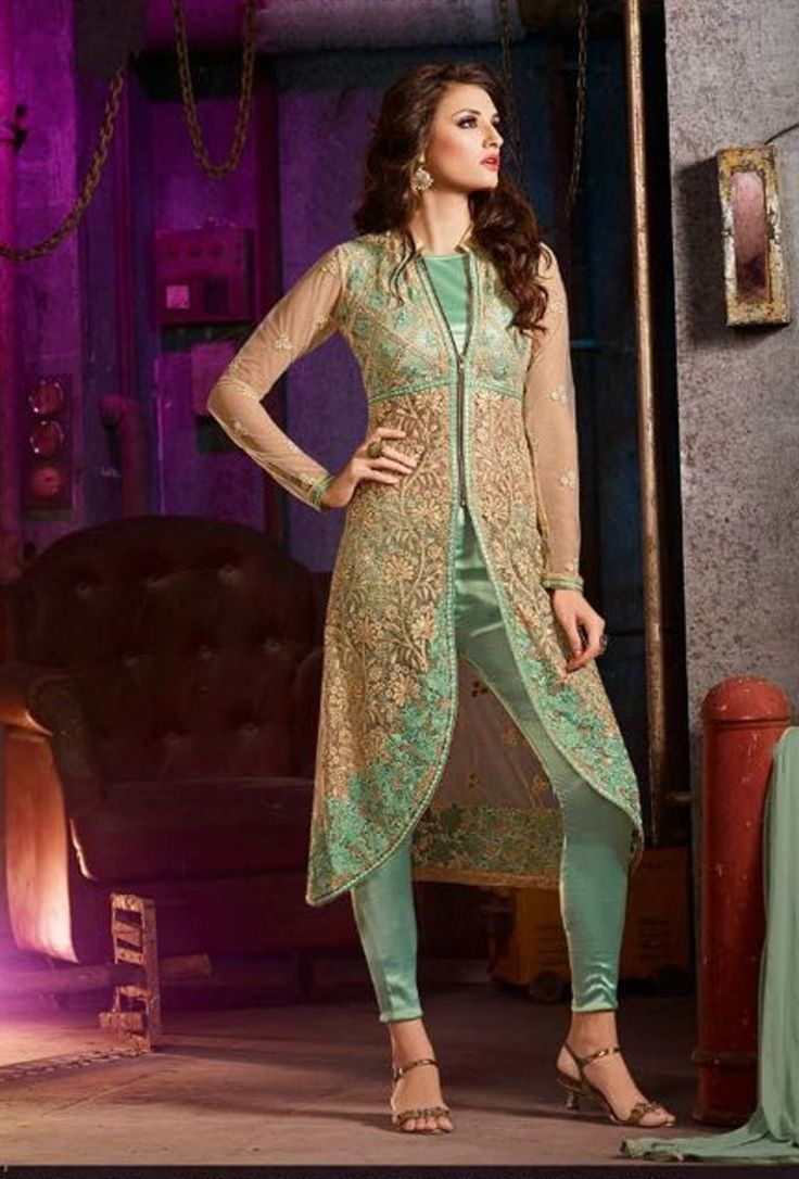 Green Colour Silk Net Party Wear Different Look Style Suit
