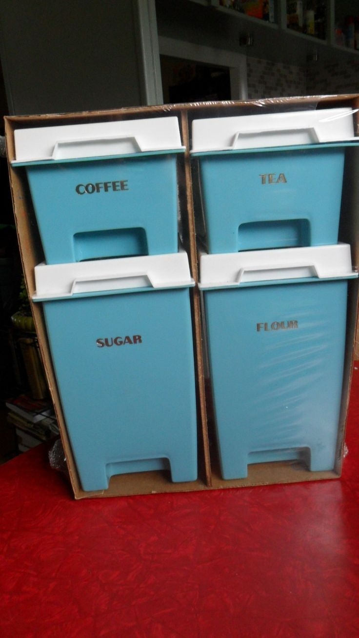 340 best canisters images on pinterest kitchen canisters new vintage plastray turquoise plastic canister set kitchen atomic flour sugar ebay
