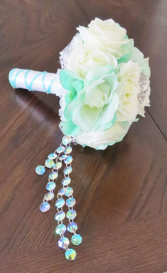 Tiffany Blue Rose Bouquet Blue and White Bridal by AngelicasBridal, $200.00