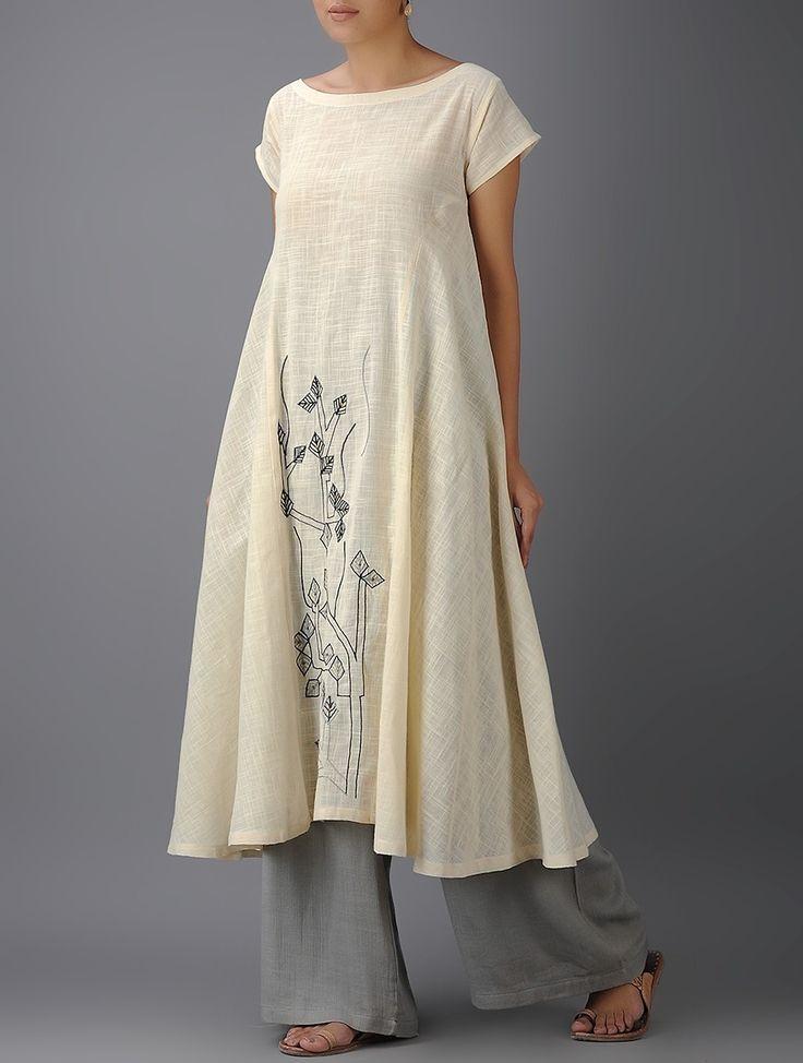 Buy Ivory Black Embroidered Cotton Kurta Handloom Slub Women Kurtas The…