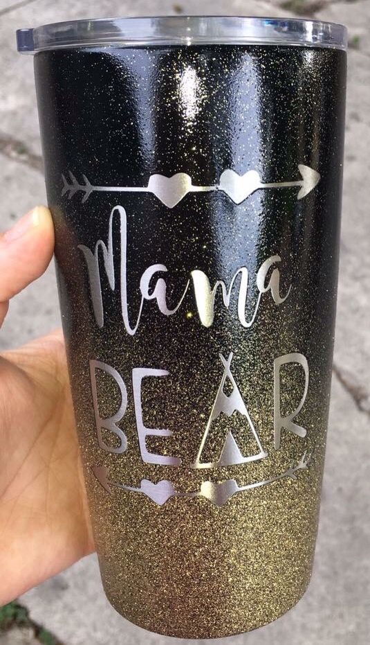 "ombré glitter ""mama bear"" stainless steel tumbler (YETI) cup"