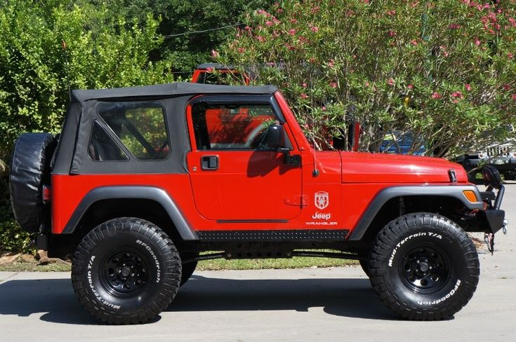 """2004 """"Flame Red"""" Jeep Wrangler with Only 89k Miles! Custom Suspension and Lots of Extras!! http://www.selectjeeps.com/inventory/view/9229583/2004-Jeep-Wrangler-2dr-X-League-City-TX"""