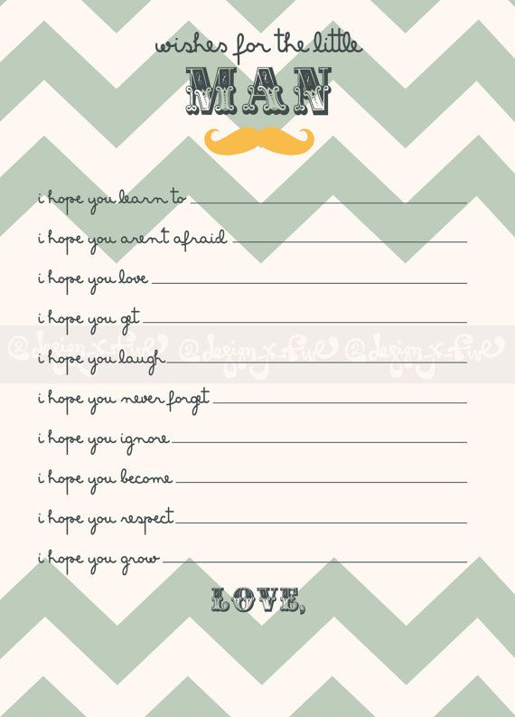 SALE! Printable Baby Shower Game - Wishes for the baby boy - Chevron - Customize - Mustache - Baby Shower Activity - Decor -Digital File on Etsy, $7.55