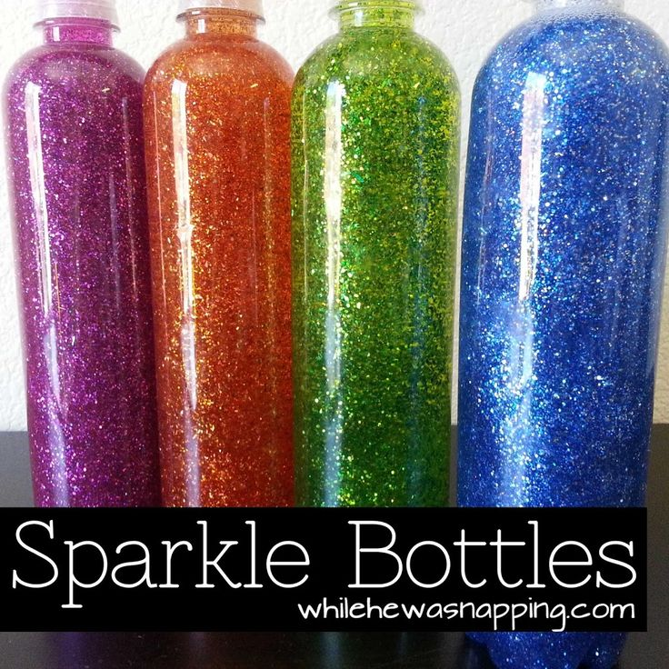 SPARKLE BOTTLES | PAGE 2 Looking for the beginning? CLICK HERE. Materials:  – Elmer's Glitter Glue – Elmer's Clear School Glue – Fine flake glitter – Hot water – Clear plastic bottles – Super Glue Directions: 1. Clean any labels or sticky glue off your bottles. 2. Heat the water. It doesn't have to …