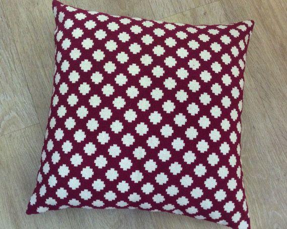 MAGENTA PINK Crimson square design in cream on a by MoGirlDESIGNS