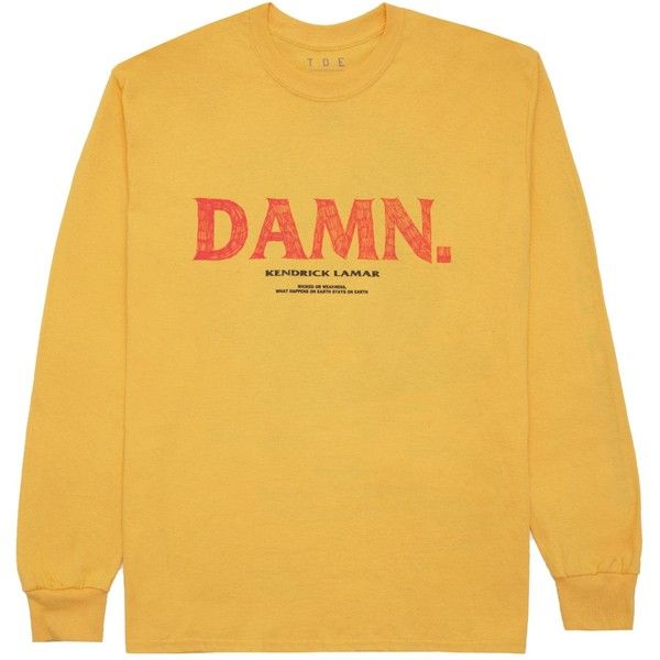 Kung Fu Kenny L/S T-Shirt (Gold) ($40) ❤ liked on Polyvore featuring tops, t-shirts, yellow t shirt, yellow top, gold tee, gold top and yellow long sleeve t shirt