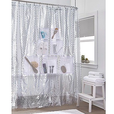 The Stuffits Vinyl Shower Curtain With Mesh Pockets Is Perfect For