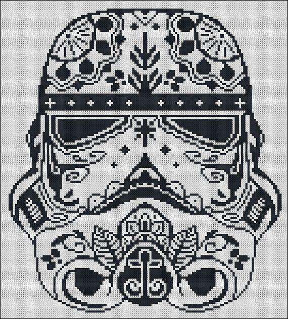 BOGO FREE! Storm Trooper, Star Wars Cross Stitch Pattern Stormtrooper Needlecraft Sugar Skull Embroidery Needlework Instant Download #002-1