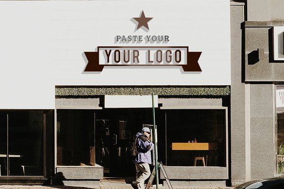 Storefront Sign Logo Mockup by Riopurba Collection on @creativemarket