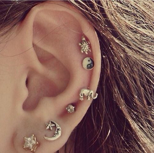 ear piercings. love the studs. many piercings, but it is delicate and not too crowded.