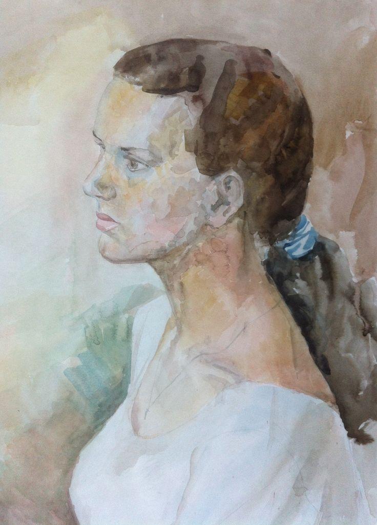 Портрет девушки, 40х60 см, бумага, акварель