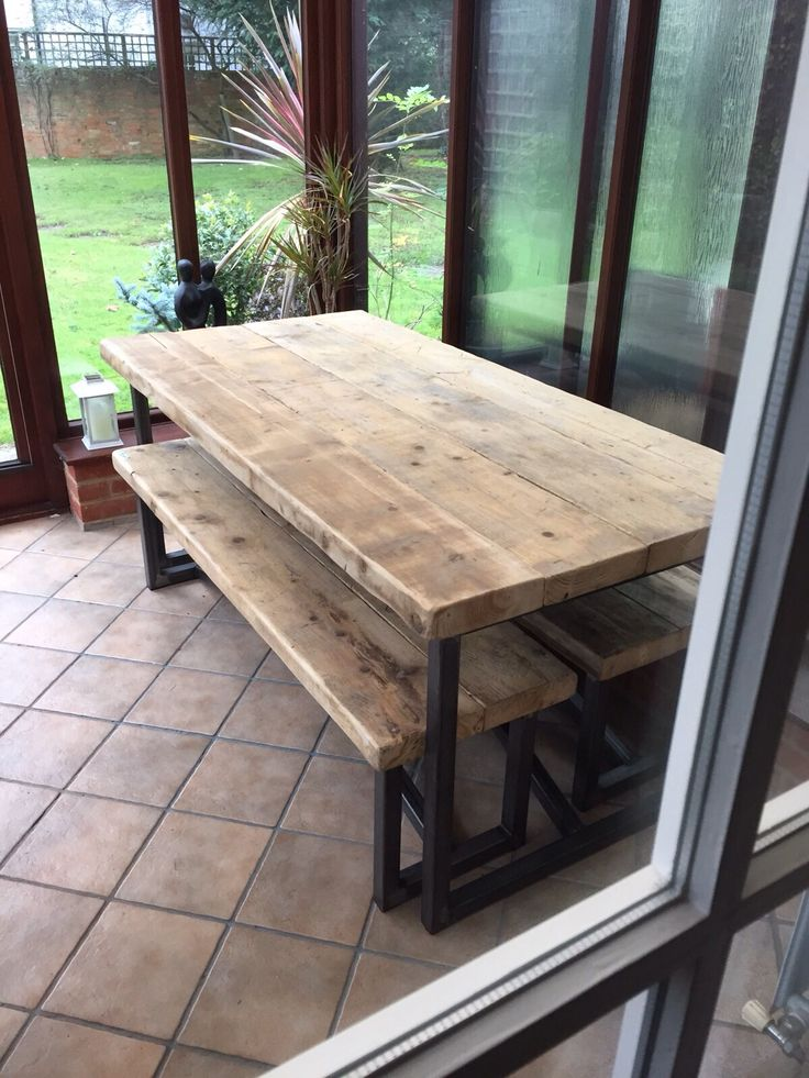 Industrial Mill Style Large Reclaimed Wood Dining Table + Benches - www.reclaimedbespoke.co.uk