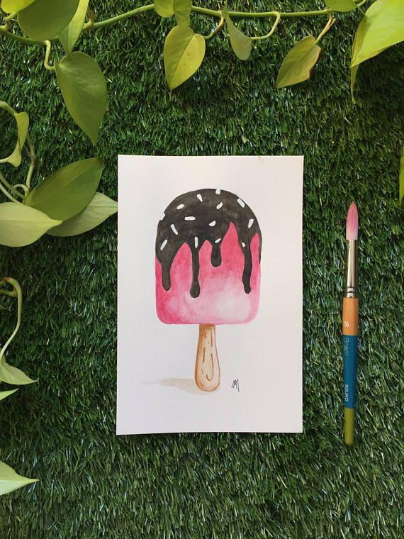 Illustration Popsicle  Aquarelle  Fait à la main