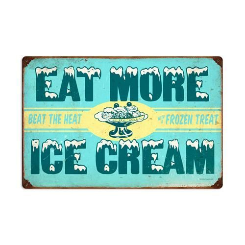 Large Vintage Signs Reproductions | Retro Eat More Ice Cream