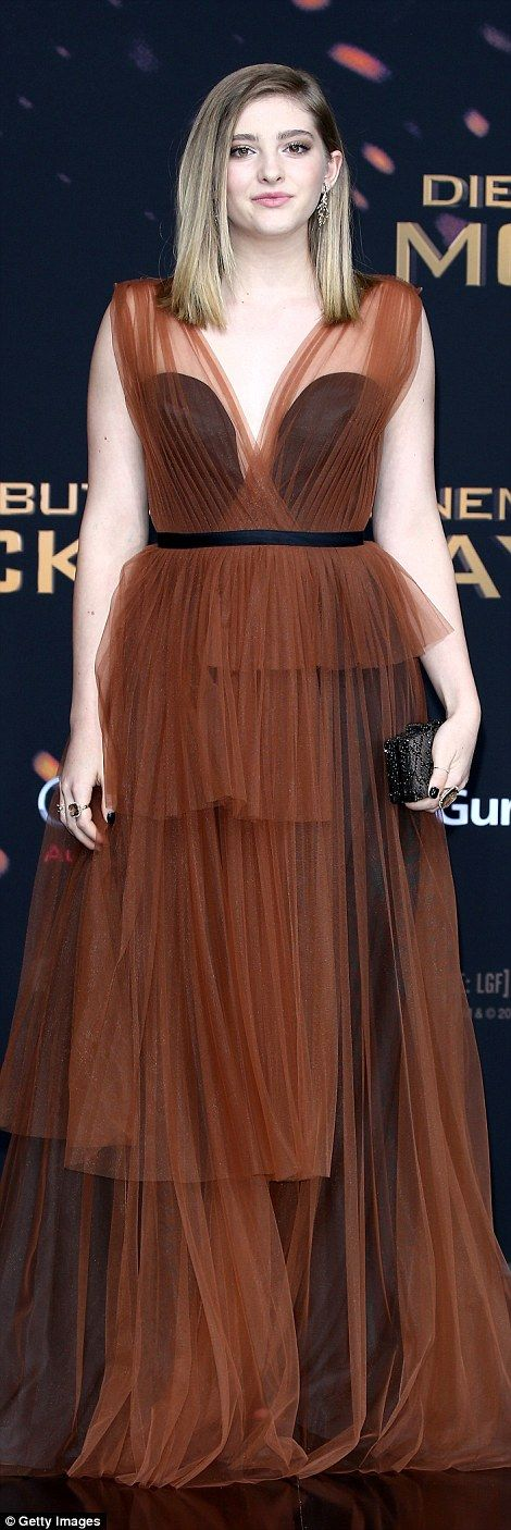 Grown-up glam: Willow Shields, who plays Katniss' sister Prim, donned a tiered tulle number in an autumnal hue