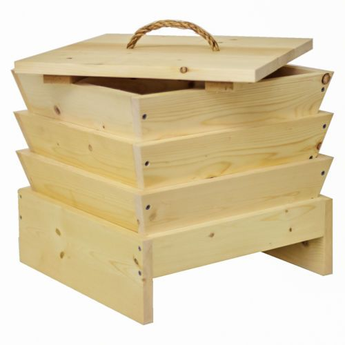 3 Tray Wooden Worm Composting Bin Farm Factory Kit with 500 Red Worms Wigglers   eBay