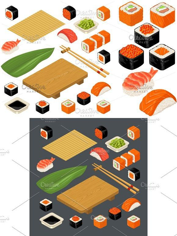 Set Icon Sushi Nigiri And Rolls Served With Bamboo Mat Chopsticks Wasabi Soy Sauce And Wood Plate Sushi Isometric Illustration Cute Drawings