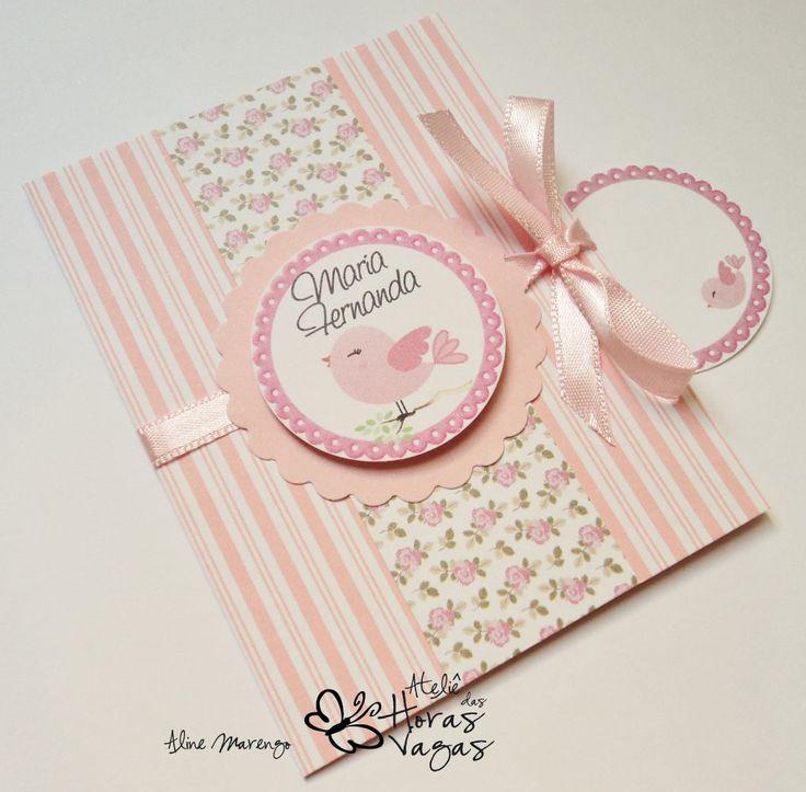 convite passarinho floral