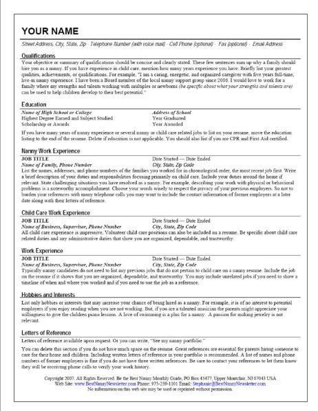30 best International Resume images on Pinterest Resume, Resume - nanny job description resume