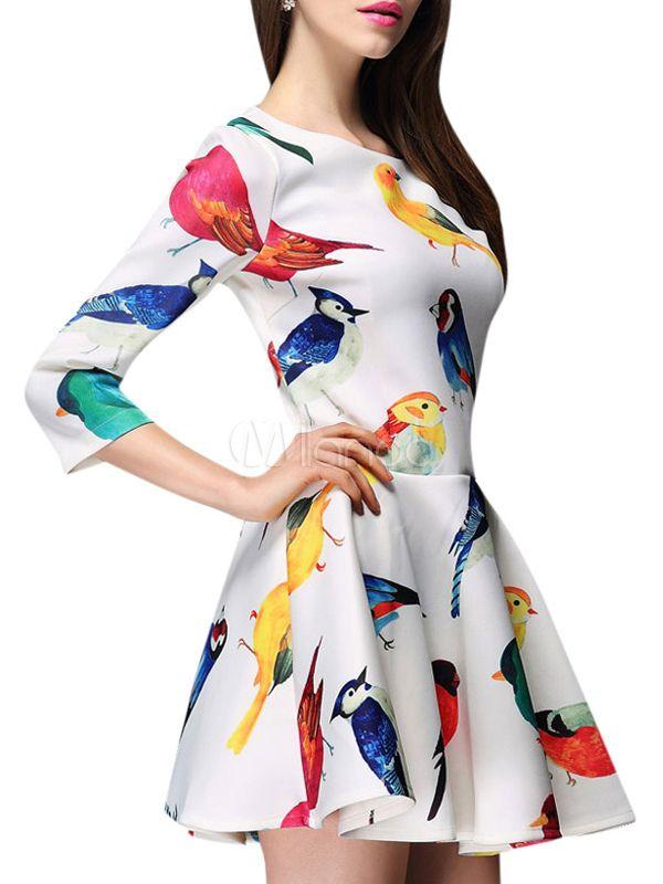 Robe skater en jacquard blanc imprimé d'oiseau multicolore avec épaulette - Milanoo.com