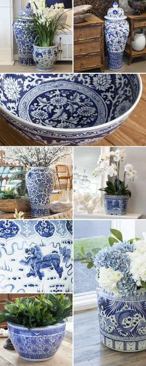 A collection of our blue and white planters and ginger jars.