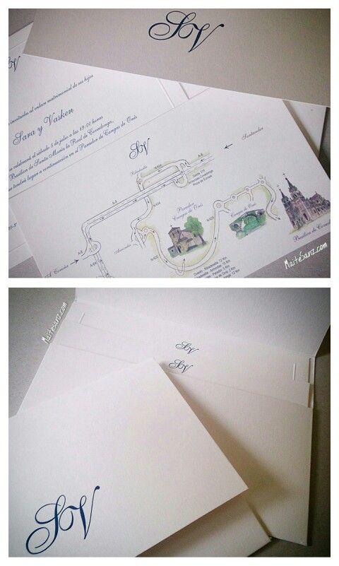 MaiteSAnz. Estuche con iniciales, invitación y plano. La invitación lleva un marco en relieve, y el plano ilustraciones a color de Asturias. #invitaciones #invitacionesdeboda #invitacionesclasicas #invitacionespersonalizadas #personalizadas #clasicas #boda #wedding #bodas #madrid #maitesanz #maitesanzgraficas #asturias #ilustraciones #estuche #graficas