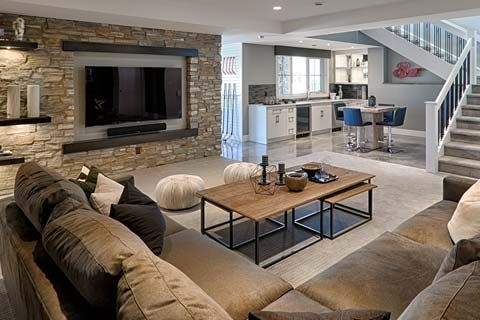 Foothills Hospital Home Lottery Spring 2016 | The Grand Prize Showhome. Walk out basement with stone wall, mounted tv, bar.