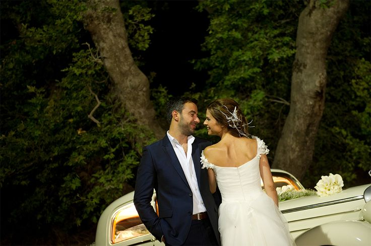 Great white vintage car for your wedding..