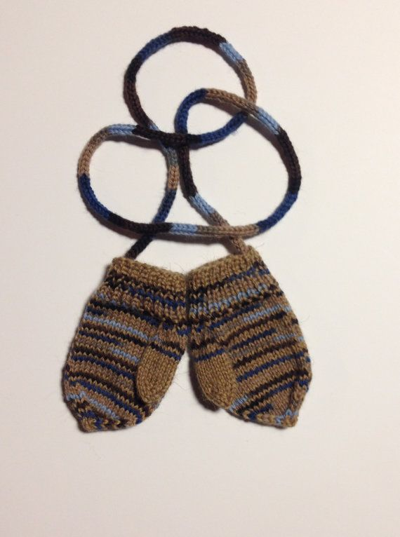 Hand knitted wool baby mittens with thumb and string, size 12-24 months old. Ready to ship. Winter accessories.