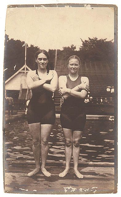 Australia's first women Olympians, Fanny Durack and Mina Wylie, 1912 by State Library of New South Wales collection, via Flickr