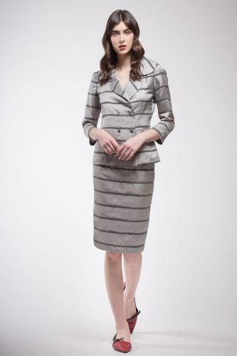 Black and grey striped taller twill in silk and wool