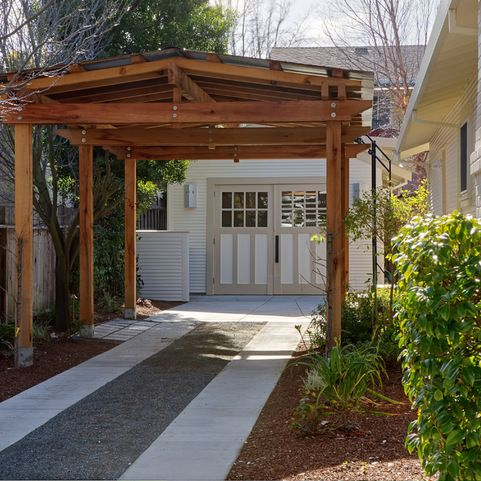 14 best carports images on pinterest carport garage for Carport landscaping ideas