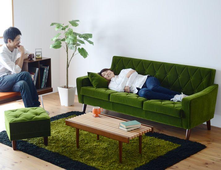 カリモク60 ロビーチェア3シーター モケットグリーンはカップルにもぴったりなソファ