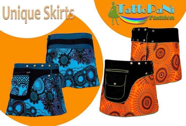 Ladies colorful pattern skirt with push button closure design. Comfortable and Easy to Wear and Unique Design. Get fashionable style this season,adjusts effortlessly to any body type  It includes a small sideways pocket with zipper Material: Cotton = Combination of Trendy and Vibrant Colors Push buttons to adjust to any body form and size Wrap skirt with push button closure
