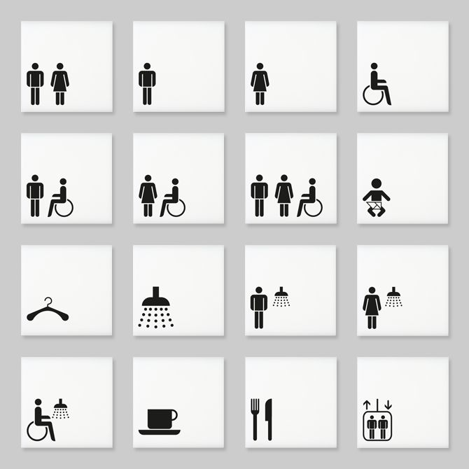 Architectural signs incorporating the Zurich range of pictograms by Marca Designs.