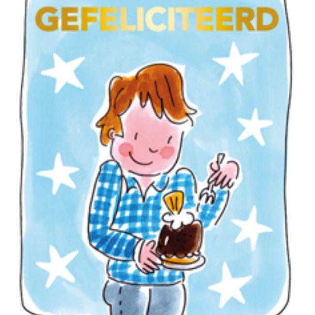 Blond Amsterdam thee kaart Gefeliciteerd (blauw) |