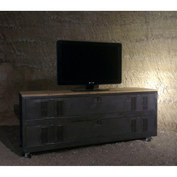 Meuble tv industriel ou de chaussures avec un ancien vestiaire 2 portes