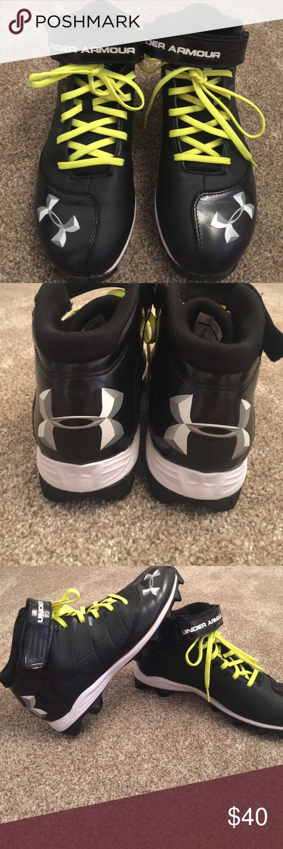 Men's AU HIgh Top Baseball Cleats - 9 Men's Black High Top Under Armour Baseball Cleats with ankle strap, rubber bottoms and fluorescent green laces - Size 9 - worn twice and in Perfect Condition.  Comes from a very clean smoke-free home. Under Armour Shoes Athletic Shoes
