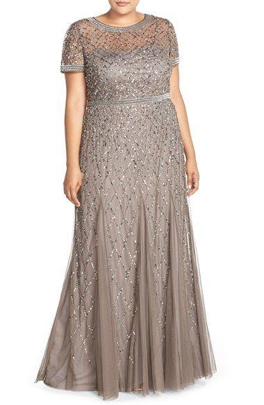 Plus Size Women's Adrianna PapellBeaded Gown, Size 14W