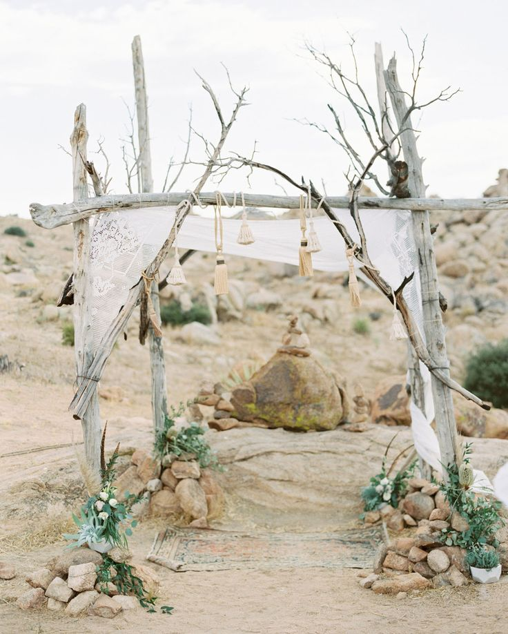 boho romantic backdrop made from natural materials, lace and greenery