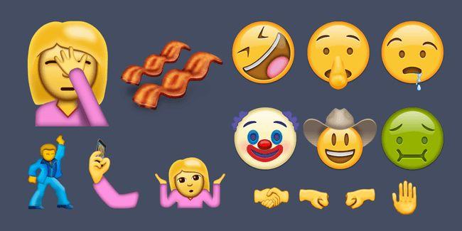 """Jey, neue Emojis! Die Non-Profit-Organisation """"Unicode Consortium"""" hat jetzt die 38 Kandidaten vorgestellt, die Mitte 2016 auf unserenSmartphones landen könnten - darunter der Übelkeits-Emoji, Facepalm, Clown, Cowyboy, Speck und ein tanzender Kerl."""